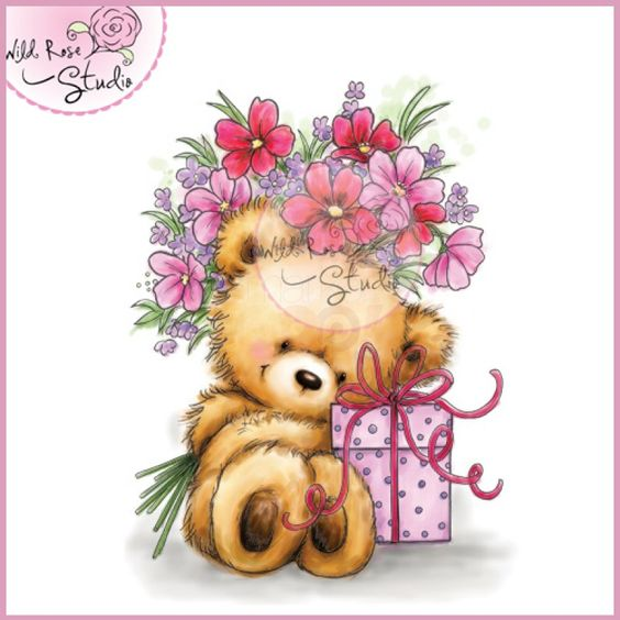 Wild Rose Studio Clear Stamp - Teddy with Present: