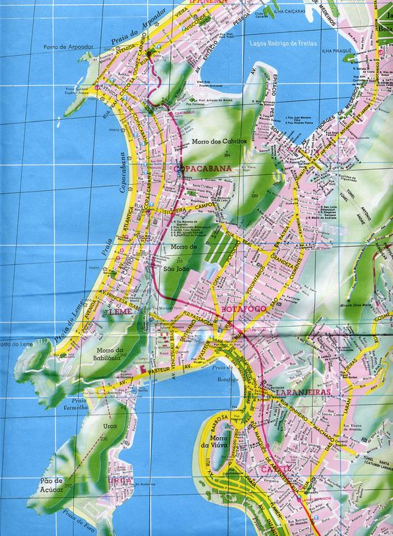 Rio de Janeiro Copacabana Area Map - Rio de Janeiro Brazil • mappery