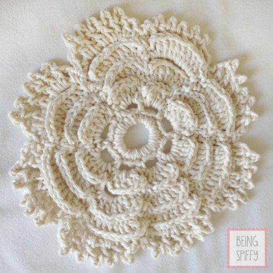 Tea Rose Crochet Dishcloth Pattern | Patrones rosa, Patrones and ...