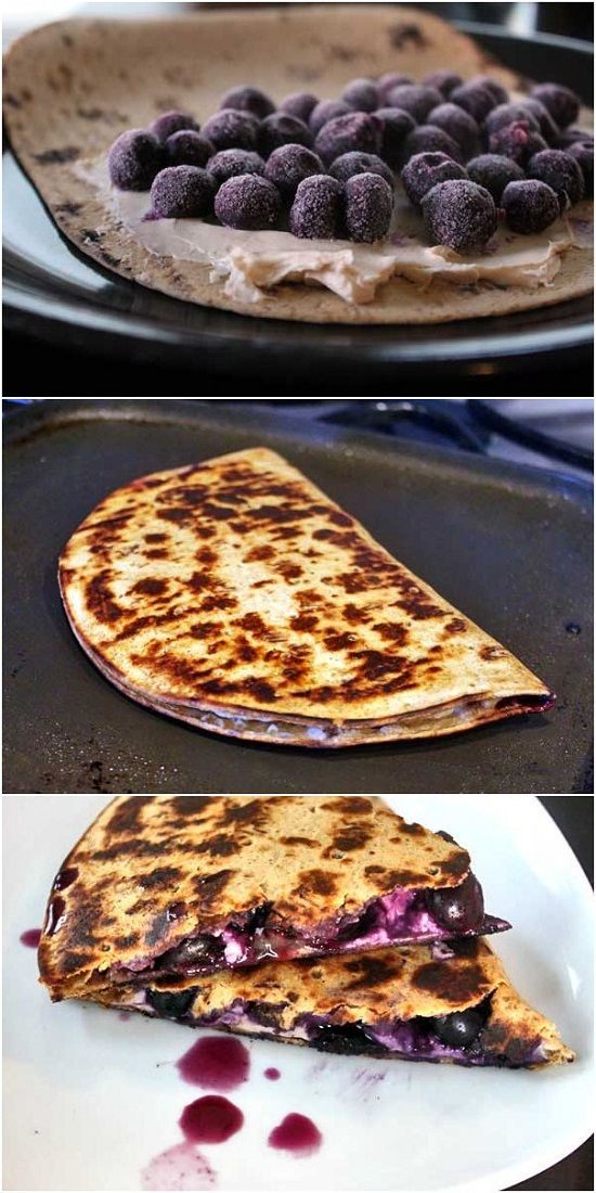 Blueberry Breakfast Quesadilla (use low carb/gluten free tortillas, cream cheese spread; try strawberries, bananas, strawberries & bananas, raspberries, blackberries, peaches, pears, even add nuts - pecans, walnuts, almonds)