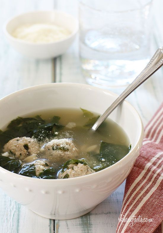 Escarole Soup with Turkey Meatballs (Italian Wedding Soup) - A ...