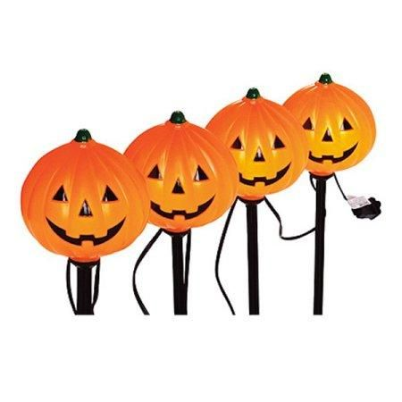 Halloween Lighted Skull Pumpkins Or Ghosts Pathway Markers 4pk Halloween Decoration Pumpkin Lights Halloween Lights Halloween Decorations