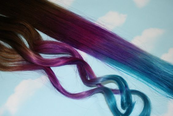 Purple, Blue Tie Dye Tips, Purple & Turquoise, Human Hair Extensions. Colored Hair Extension Clip, Clip in Hair, Dip Dyed Hair Tips. $85.00, via Etsy.