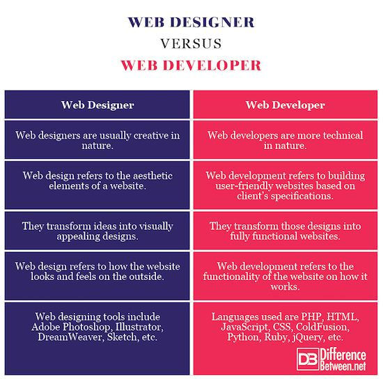 Difference Between Web Development Development Web Design