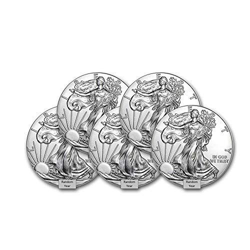 1986 Present Random Year Lot Of 5 1 Ounce American Silver Eagle 1 999 Fine Silver Brilliant U In 2020 American Silver Eagle Gold Eagle Coins Silver Eagle Coins