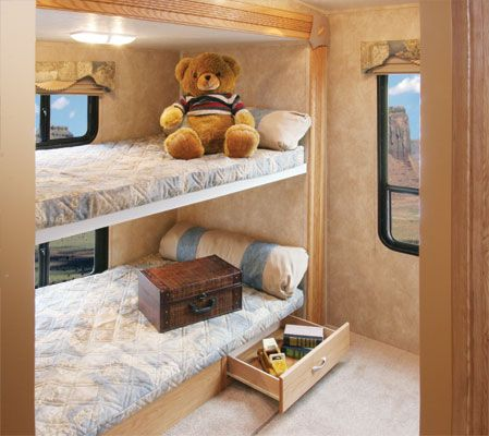 Bunk bed beds and bunk rooms on pinterest for Rv loft bed