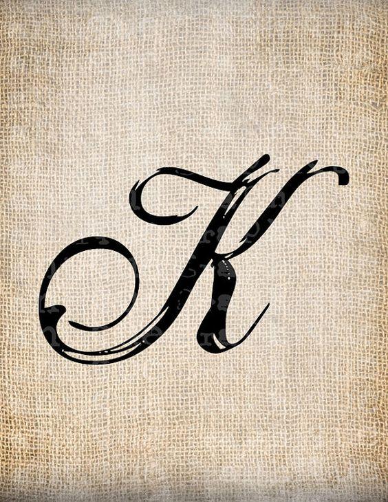 Antique Letter K Script Monogram Digital Download for Dictionary Pages, Papercrafts, Transfer, Pillows, etc.Burlap No 7533