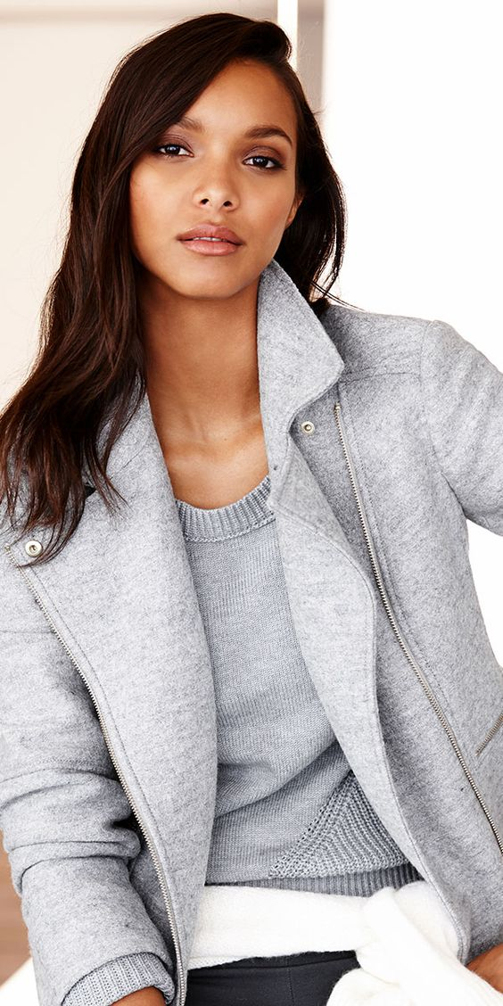 Style tip: for a feminine take on the moto inspired jacket, layer on shades of grey. | Banana Republic