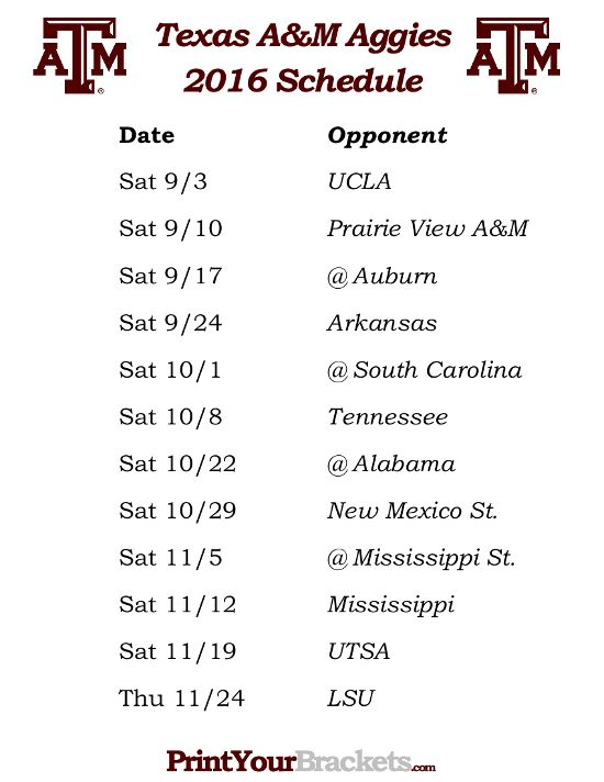 Printable Texas A&M Aggies Football Schedule 2016: