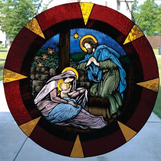 Custom Made Handpainted Stained Glass Nativity Scene