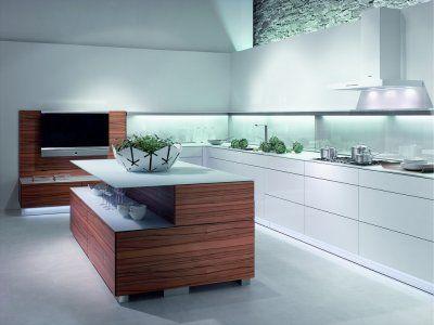 L küche weiß mit kücheninsel und tineo holz http://www.kuechen ...