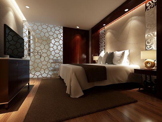 dunklen schlafzimmer design mit holz wände, holzböden und möbel, Deko ideen