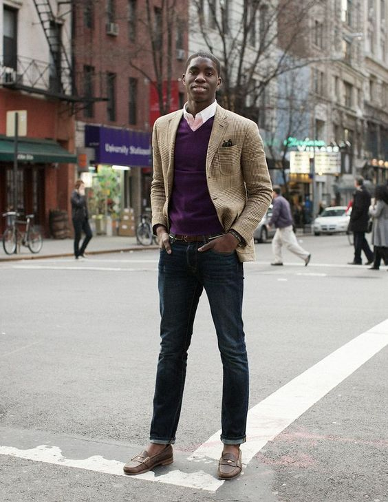 Shop this look on Lookastic: https://lookastic.com/men/looks/blazer-v-neck-sweater-long-sleeve-shirt-skinny-jeans-loafers-belt/4537 — Pink Long Sleeve Shirt — Purple V-neck Sweater — Brown Plaid Wool Blazer — Dark Brown Leather Belt — Navy Skinny Jeans — Dark Brown Leather Loafers