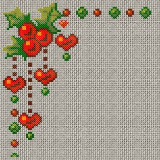 Saving this one for next year [Christmas heart corner cross stitch]