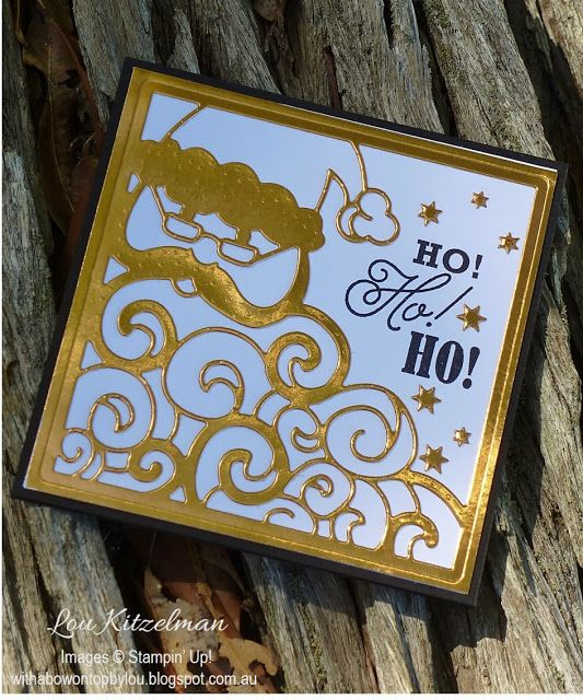 Greetings for Santa stamp set and the coordinating Detailed Santa Thinlits dies from Stampin' Up! With a bow on top