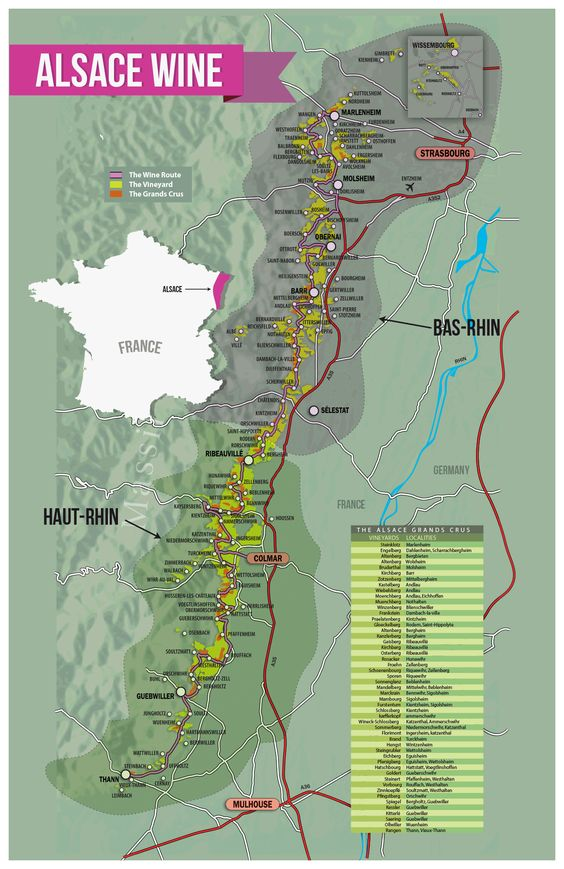 Alsace is broken up by AOC law (aka Appellation d'Origine Contrôlée). These laws dictate everything from grape variety allowed to vineyard density (ie how far apart vines are from one another). So to understand Alsace, it helps to understand the 3 major AOCs Alsace AOC (92% white still wines) Crémant d'Alsace AOC (Sparkling white and rosé wines) Alsace Grand Cru AOC (Limited special vineyard wines):