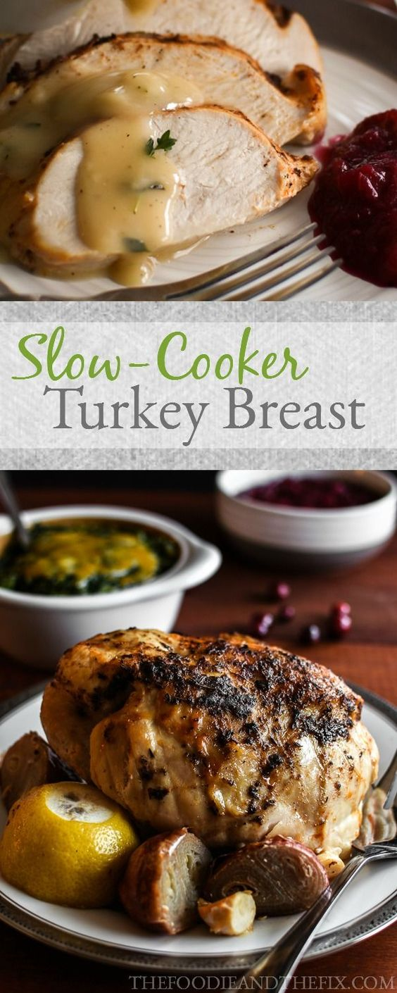 21 Day Fix Slow Cooker Turkey with Thyme Gravy and Sage Cashew Sauce Recipe - the easiest main dish you could ever make for your holiday dinner! Healthy, too!