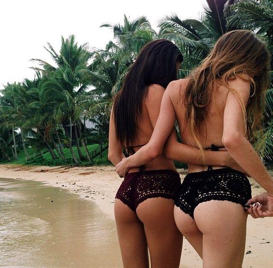 Black crochet bikini bottoms #crochet #bikini wish i could pull this off