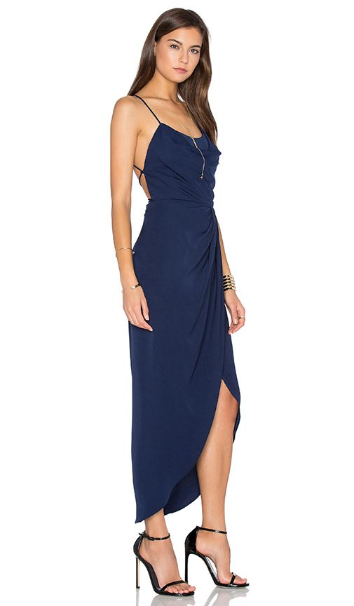 f8f9d41eb37 Shop for Shona Joy Leticia Lace Up Cowl Maxi Dress in Navy at REVOLVE. Free  2-3…