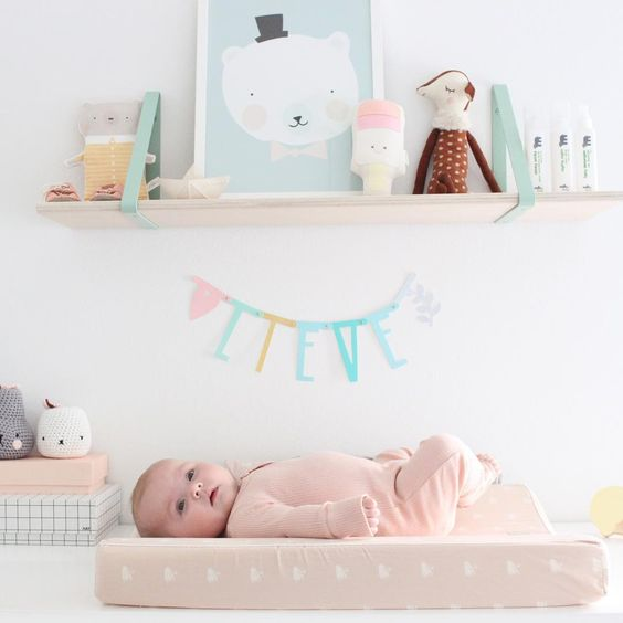 A cute and cozy way of decorating with soft pastels!  ferm LIVING Shelf & Shelf Hangers - http://www.fermliving.dk/webshop/webshop.aspx?eComSearch=True&ID=247&eComQuery=Shelf: