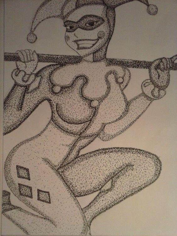 Dibujando a Harley Quinn usando puntillismo