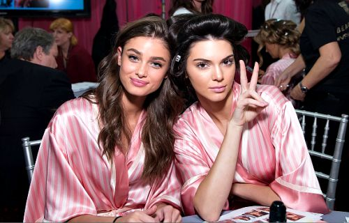 Taylor Marie Hill and Kendall Jenner backstage at Victoria's Secret Fashion Show 2015.