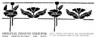 "Poppy stencil. In December 1913, the Craftsman magazine published ""Original designs used for the stenciling of the walls and decorations of a lake shore bungalow adapted from a Craftsman design"" which showed this and other stencil designs."