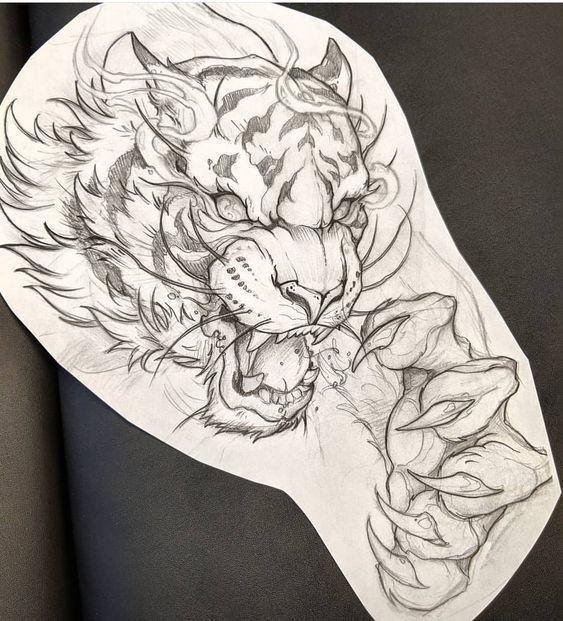 Tiger Sketch Street Photography In 2020 Tiger Tattoodesign Tierillustrationen Drachen Tribal Tattoos