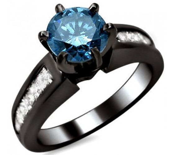 1.50ct Blue Round & Princess Cut Diamond Engagement Ring 14k Black Gold
