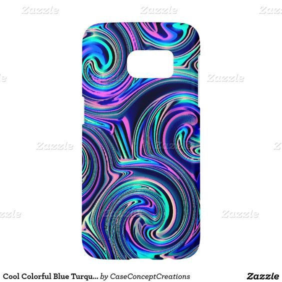 Cool Colorful Blue Turquoise Purple Spiral Pattern Samsung Galaxy S7 Case