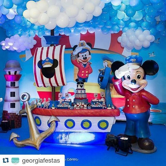 Tematica Para Fiestas Mickey Nautico Ideas Para Decorar Una Fiesta De Cumpleaños De Mickey Mouse Tem Nautical Mickey Mickey Mouse Birthday Mickey Mouse Party