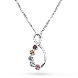 Personalized sterling silver eternal family birthstone necklaces with