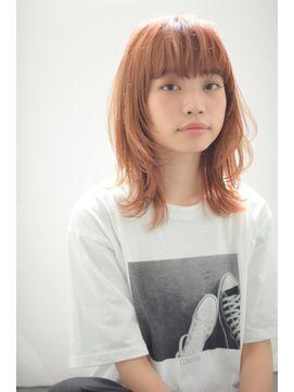 ブリーチカラー コーラルピンクオレンジベージュ 髪 カラー