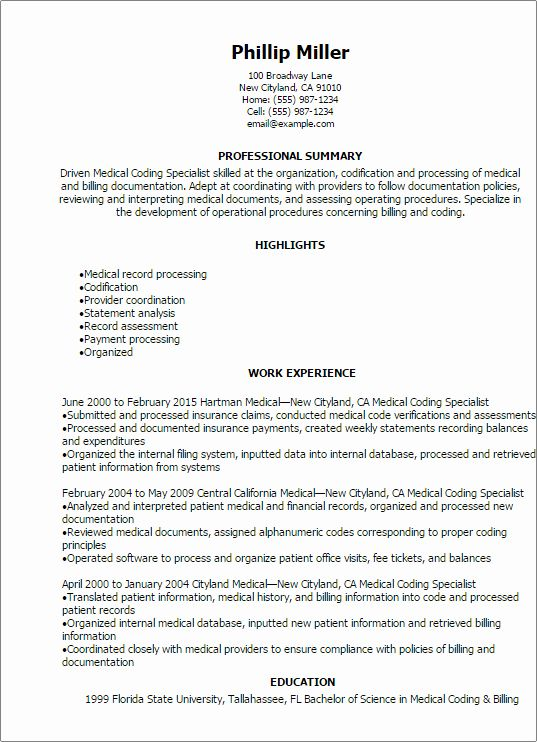 Medical Biller Resume Examples Awesome Professional Medical Coding