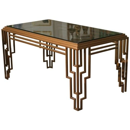 Art deco style stepped geometric dining table desk - Table de nuit art deco ...