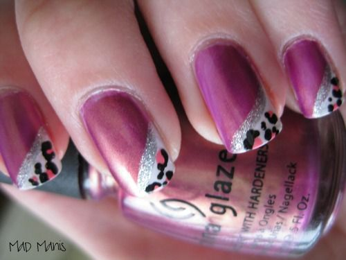 Pink & leopard nails