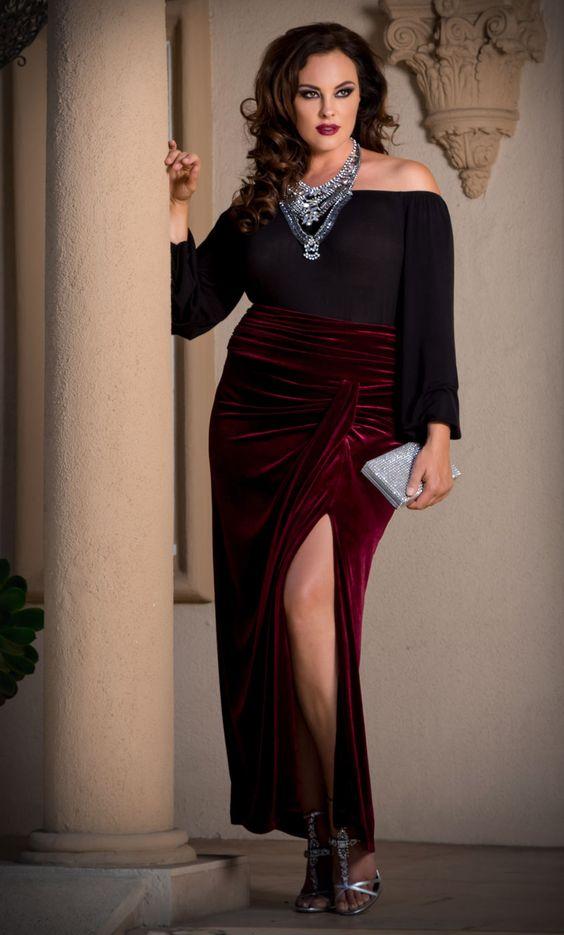 Plus Size Velvet Maxi Skirt - Rich Burgundy - Curvalicious ...