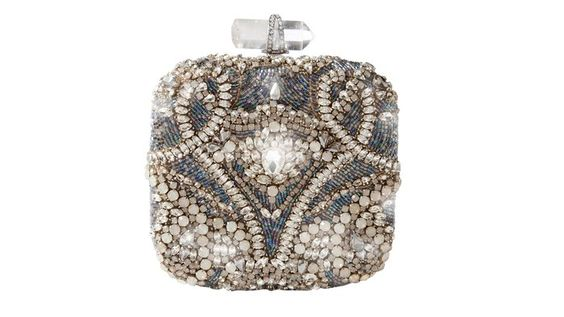 Marchesa Square Embroidered Clutch