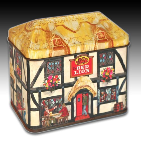 "VINTAGE HOUSE SHAPED TIN ""THE RED LION"" TUDOR COTTAGE STYLE LOCAL PUB"