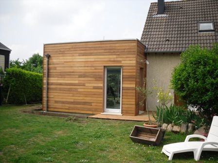 Extension en bois toit plat for Extension maison 17