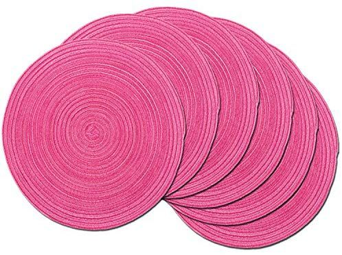 Amazon Com Shacos Round Braided Placemats Set Of 6 Cotton Round Place Mats 15 Inch Washable Table Mats For Placemats For Round Table Cotton Area Rug Placemats