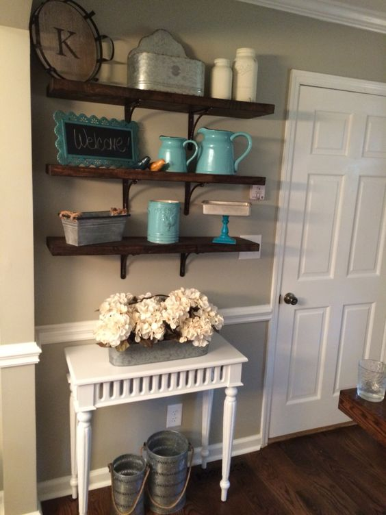 diy rustic open shelving country chic vintage home decor rustic