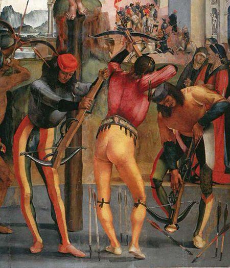 Luca Signorelli, Martyrdom of Saint Sebastian, detail, circa 1498, Pinacoteca Comunale, Città di Castello: