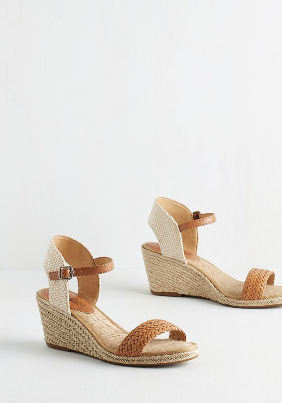 New Day, New Destination Wedge in Sand. Start a stylish new adventure in these espadrille wedges by Lucky. #tan #modcloth