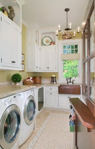"Laundry room with built-in dog ""nest"".    Really like the Dutch door!!"