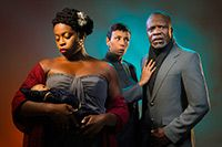 Omozé Idehenre as Hermione, Margo Hall as Paulina, and L. Peter Callender as Leontes in Cal Shakes' A Winter's Tale by William Shakespeare, directed by Patricia McGregor; photo by Kevin Berne.: Kevin Berne, William Shakespeare, Hermione Margo, Peter Callender, Cal Shakes, Shakespeare Directed, Margo Hall, Mcgregor Photo, Omozé Idehenre