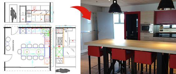 Domaines d'intervention pour l'agencement sur-mesure de la cuisine : Conception de la cuisine 2D/3D – choix des matériaux – accompagnement dans la décision client Isolation phonique de la pièce par un doublage acoustique Placoplatre et plaque de goudron + porte acoustique 45 DB Création d'une sortir d'évacuation en toiture (d'air) Changement du sol en un sol PVC LIBERTY Pose de briques sur un mur + application d'une peinture noire brillant Tabouret MOBITEC Mobilier de cuisine sur mesure