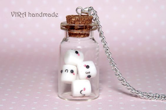 Kawaii marshmallow glass jar necklace   Made to by VIRAhandmade, $26.00