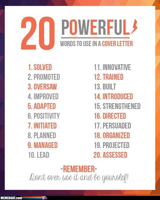 20 Powerful Words To Use In A Resume\u2026 Uni Pinterest Powerful