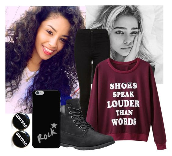 """""""Leave him for me..."""" by teddybear1129 ❤ liked on Polyvore featuring Topshop, WithChic and Timberland"""